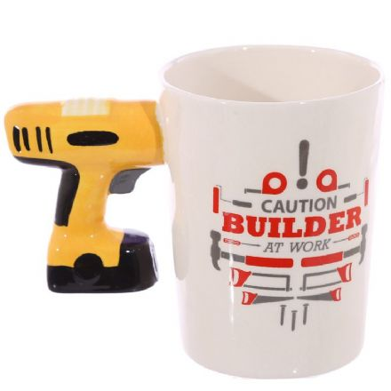 "Electric Drill Shaped Handle ""Caution Builder at Work"" Mug"